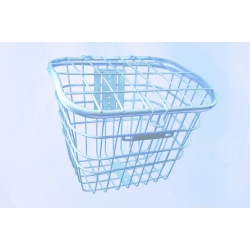 Basket 28 metal steel mesh with lid, white