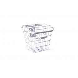Basket 20 metal steel mesh with lid, white