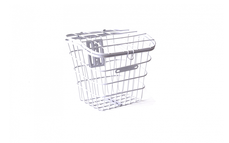 Basket 26 metal steel mesh with lid, white