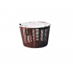 Basket 24 plastic wicker with lid, brown