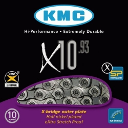 Chain KMC 10sp X10-1 silver/black 1/2x11/128x114L