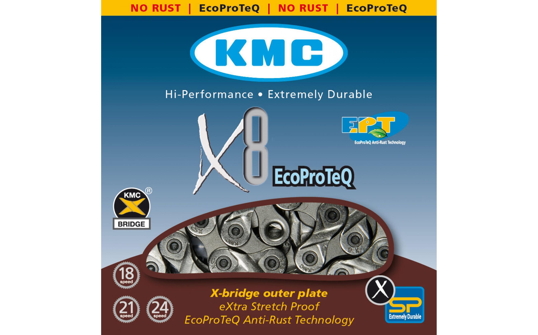 Chain KMC 8sp X8EPT (EPT) 1/2x3/32x116L, KMC chains., Chains.