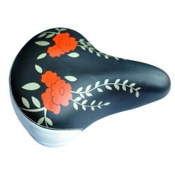 Сідло Baisike №559 жіночий орнамет з замком чорний/ білий